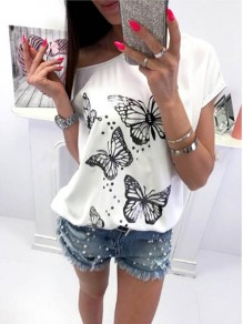 White Animal Print Elbow Sleeve Casual Going out Outdoors T-Shirt
