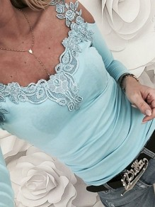 Blue Lace Cut Out V-neck Long Sleeve Fashion Casual T-Shirt