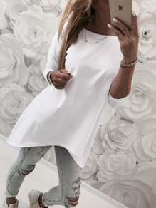 White Irregular Round Neck Long Sleeve Casual T-Shirt