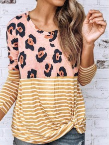 Yellow Striped Leopard Print Long Sleeve Casual T-Shirt