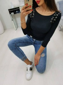 Black Lace-Up Drawstring Round Neck Long Sleeve Casual T-Shirt