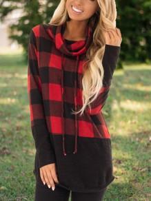 Red-Blue Buffalo Plaid Drawstring Long Sleeve Cowl Neck Casual Halloween T-Shirt