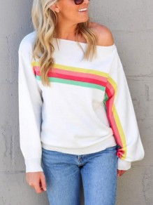 White Rainbow Striped One Off Shoulder Long Sleeve Casual T-Shirt