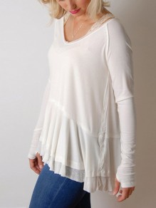 White Patchwork Lace Irregular V-neck Long Sleeve Fashion T-Shirt
