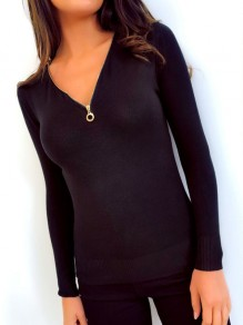 Black Zipper V-neck Long Sleeve Fashion Polyester T-Shirt