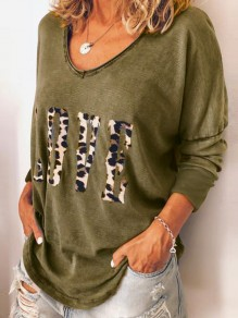 Army Green Leopard Love Print Round Neck Long Sleeve T-Shirt