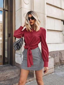 Burgundy Patchwork Backless Bow Sashes Long Sleeve Fashion T-Shirt
