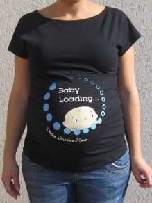 "Grey ""Baby Loadying"" Round Neck Maternity For Babyshowes Maternity T-Shirt"