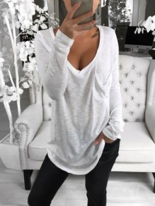 White Pockets V-neck Long Sleeve Oversize Fashion T-Shirt
