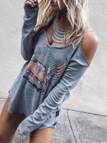 Grey Cartoon Cut Out Print Long Sleeve Fashion T-Shirt