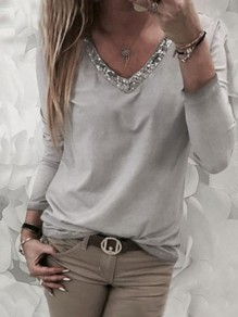 Grey Patchwork Beading V-neck Long Sleeve Fashion T-Shirt