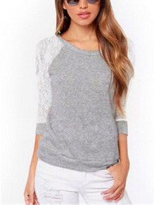 Grey Patchwork Lace Round Neck Long Sleeve Fashion T-Shirt