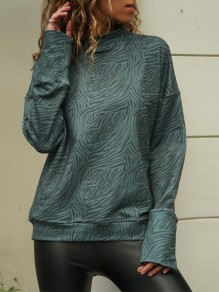Green Leopard Collarless Long Sleeve Fashion T-Shirt