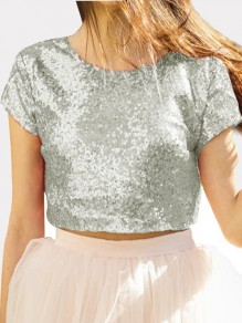 Silver Patchwork Sequin Round Neck Short Sleeve Backless T-Shirt