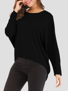 Black Irregular Round Neck Long Sleeve Fashion T-Shirt