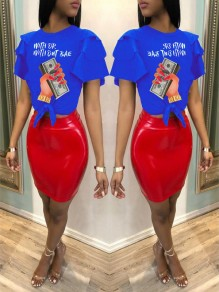 """Blue """"WITH OR WITH OTU BAE"""" US Dollar Print Cascading Ruffle Knot Casual T-Shirt"""