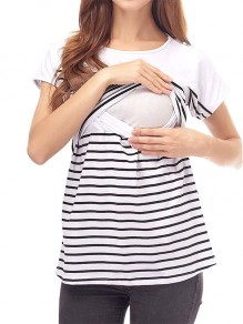 White Striped Cut Out Short Sleeve Oversized Maternity T-Shirt