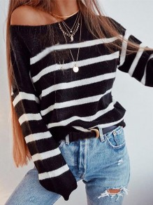 Black White Striped Print Asymmetric Shoulder Long Sleeve T-Shirt