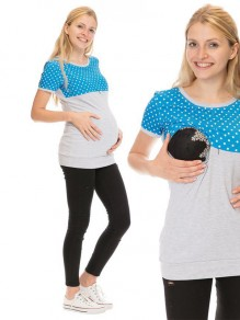 Light Grey Blue Polka Dot Irregular Short Sleeve Oversized Maternity T-Shirt