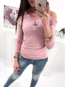 Pink Patchwork Appliques Cut Out Long Sleeve Fashion T-Shirt