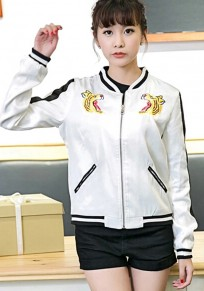 White Tiger Embroidery Trench Coat