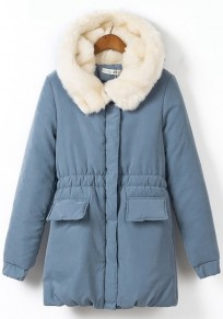 Blue Plain Drawstring Hooded Cute Parka