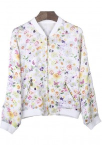 Multicolor Flowers Zipper Polyester Trench Coat