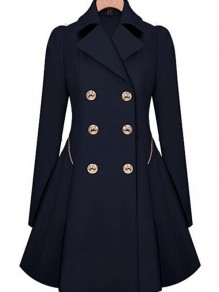 Navy Blue Plain Double Breasted Trench Coat