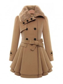 Camel Plain Fur Buttons Belt Turndown Collar Fashion Double Breasted Peplum Wool Coat