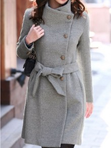 Grey Plain Belt Band Collar Single Breasted Wool Coat