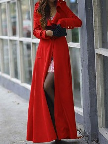 Red Plain Full Length Turndown Collar Wool Blend Slim Military Long Trench Coat