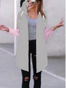 Cappotto normale coulisse manica lunga casuale con cappuccio grigio