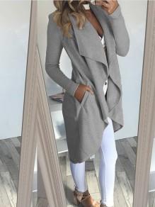 Cappotto tasche irregolari collare couverture manica lunga casuale grigio