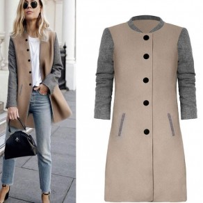 Khaki Grey Patchwork Print Round Neck Single Breasted Casual Coat