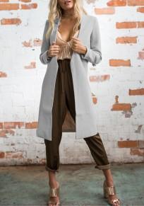 Cappotto v-collo manica lunga moda lana poliestere grigio