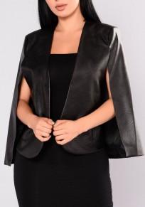 Cappotto pelle artificiale irregolare colletto sartoriale senza maniche moda mantello nero