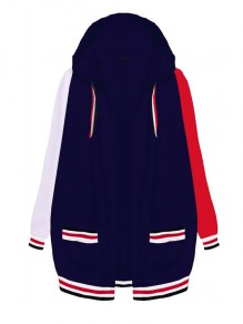 Dark Blue-White-Red Patchwork Pockets Hooded Long Sleeve Fashion Coat