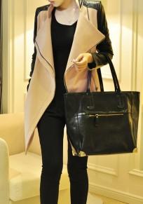 Cappotto cerniera irregolare in pelle pu colletto alla rovescia manica lunga moda kaki