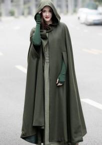 Cappotto elegante mantello di lana con cappuccio drappeggiato irregolare verde militare