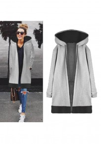 Grey Patchwork Drawstring Pockets Zipper Hooded Casual Coat