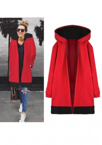 Red Patchwork Pockets Zipper Hooded Casual Coat