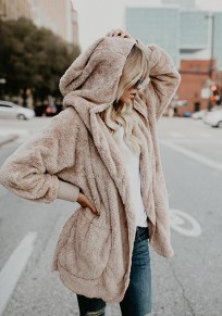 Apricot Fuzzy Teddy Pocket Hooded Long Sleeve Casual Coat