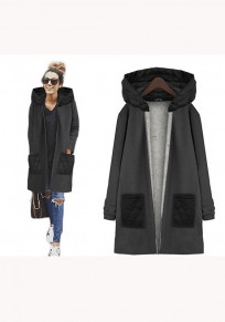 Black Plain Pockets Zipper Long Sleeve Casual Coat