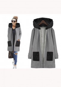 Grey Plain Pockets Zipper Long Sleeve Casual Coat