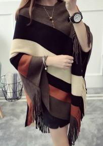 Mantello nappa A righe girocollo maglione caffè