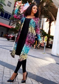 Cappotto cardigan paillette spark fashion clubwear colorato