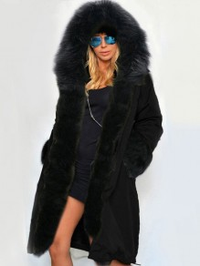 Black Patchwork Pockets Fur Hooded Long Sleeve Parka Fashion Coat