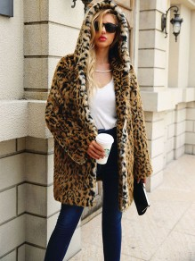Brown Leopard Buttons Hooded Fashion Outerwear