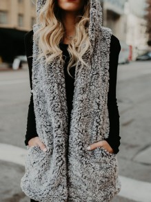 Grey Pockets Hooded Sleeveless Casual Outerwear