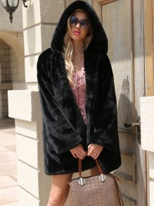 Black Pockets Faux Fur Hooded Fashion Outerwear